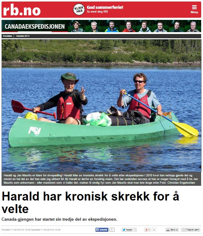 Romerikes Blad - Sandy Lake Expedition 2013 - Harald har kronisk skrekk for ? velte