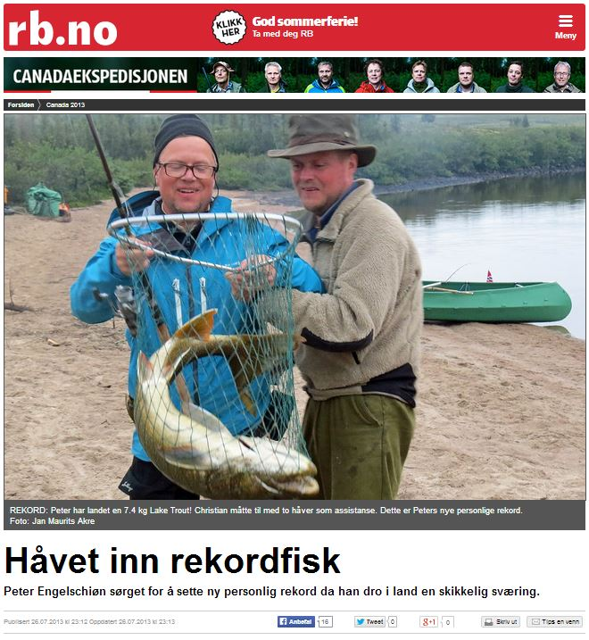 Romerikes Blad - Sandy Lake Expedition 2013 - H?vet inn rekordfisk
