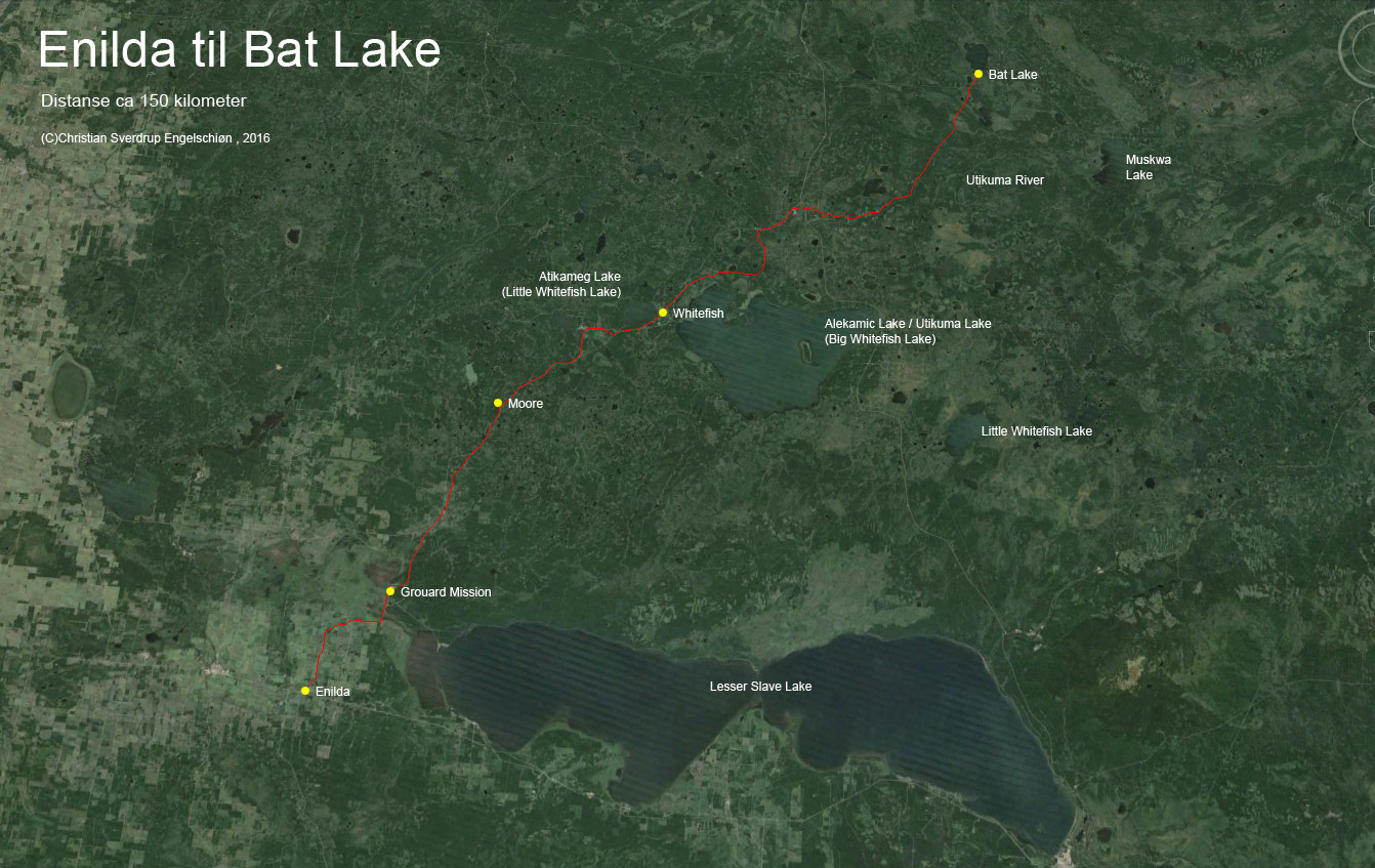 Helge Ingstad - route from Enilda to Bat Lake
