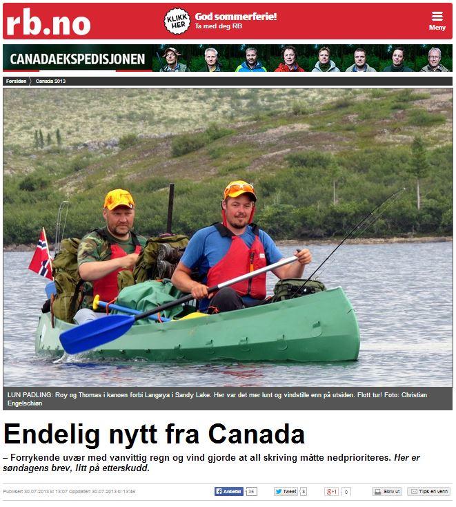 Romerikes Blad - Sandy Lake Expedition - Endelig nytt fra Canada