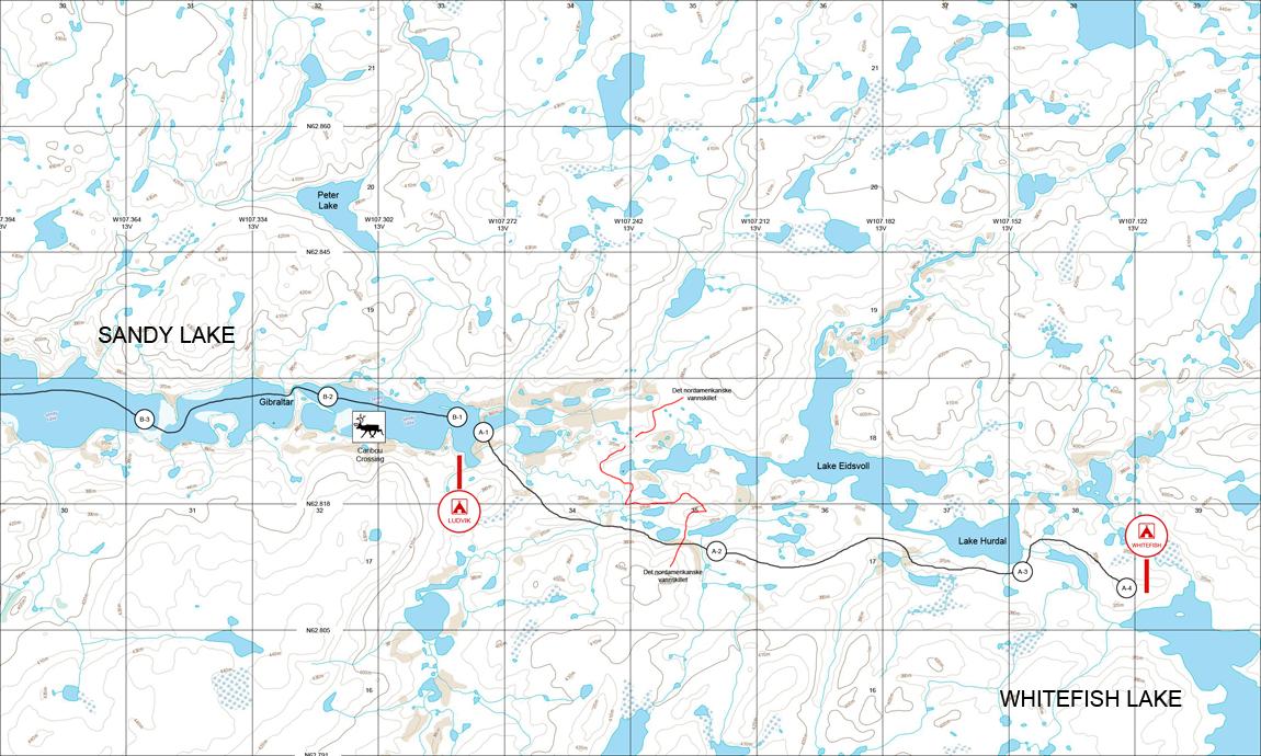 Kart over ?stre Sandy Lake til Whitefish Lake. Foto: Christian Engelschi?n