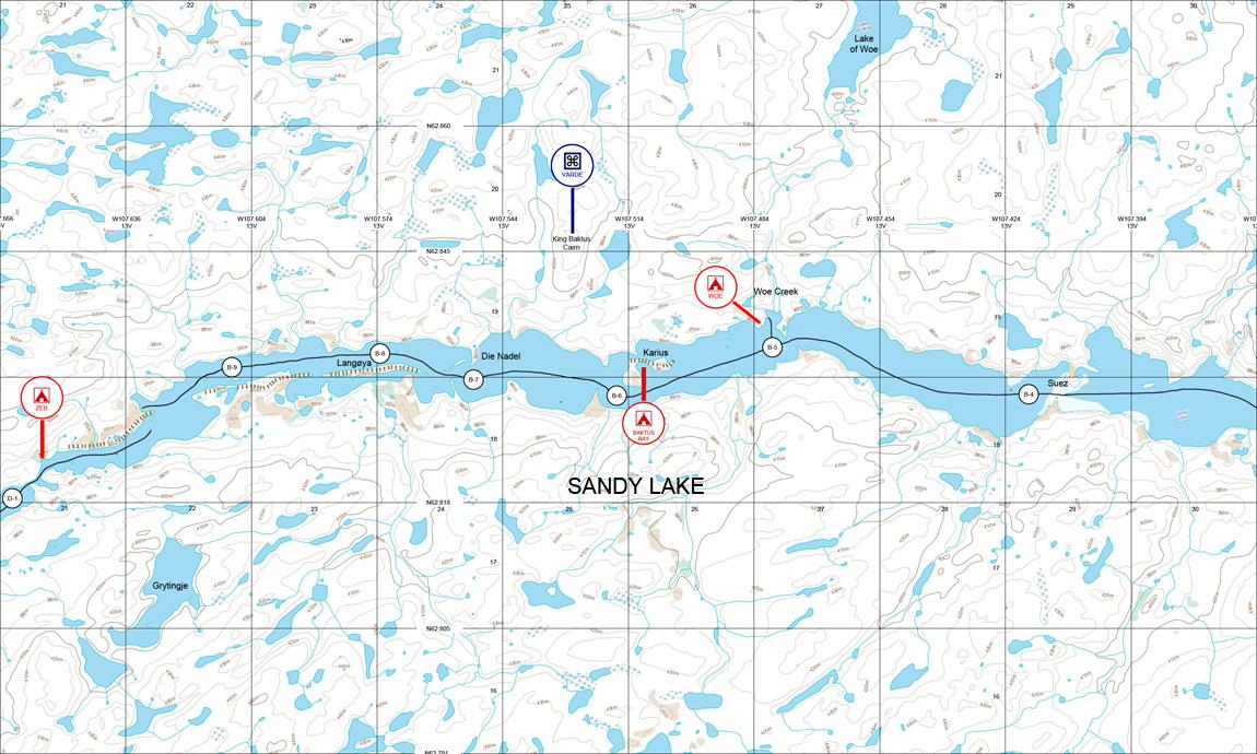 Kart over vestre del av Sandy Lake. Foto: Christian Engelschi?n