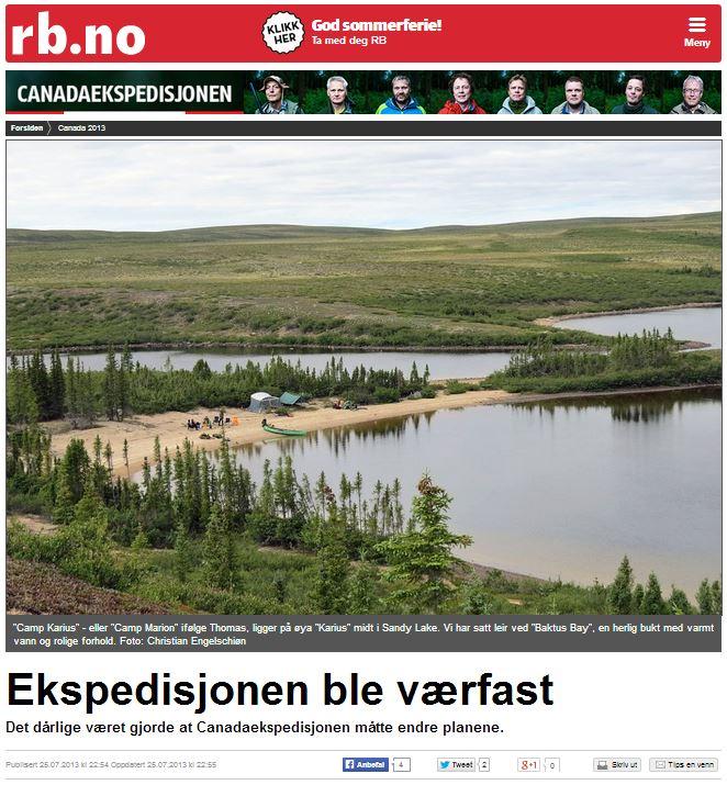 Romerikes Blad - Sandy Lake Expedition 2013 - Ekspedisjonen ble v?rfast