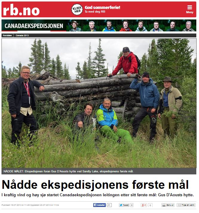 Romerikes Blad - Sandy Lake Expedition 2013 - N?dde ekspedisjonens f?rste m?l