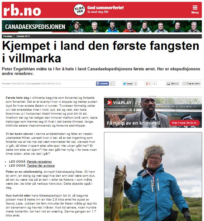 Romerikes Blad - Sandy Lake Expedition 2013 - Kjempet i land den f?rste fangsten i villmarka