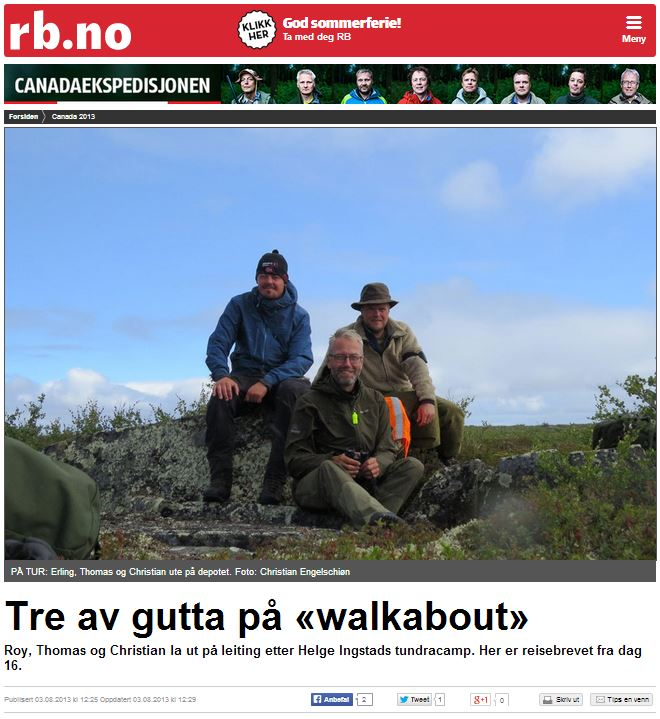 Romerikes Blad - Sandy Lake Expedition 2013 - The av gutta p? walkabout