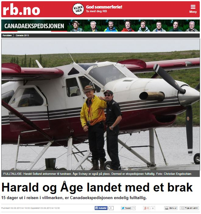 Romerikes Blad - Sandy Lake Expedition 2013 -?ge og Harald landet med et brak
