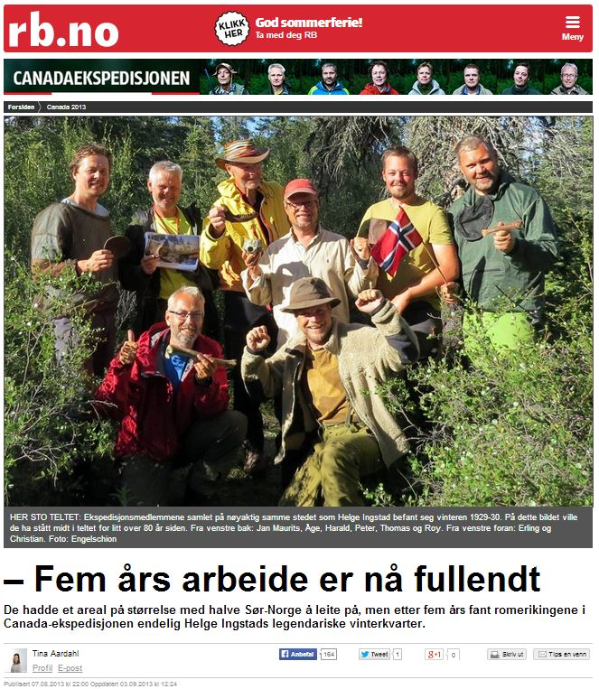 Romerikes Blad - Sandy Lake Expedition - Fem ?rs arbeide er n? fullendt